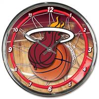 Miami Heat Round Chrome Wall Clock - Special Order