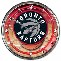 Toronto Raptors Clock Round Wall Style Chrome - Special Order