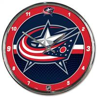 Columbus Blue Jackets Clock Round Wall Style Chrome - Special Order