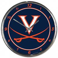 Virginia Cavaliers Clock Round Wall Style Chrome - Special Order