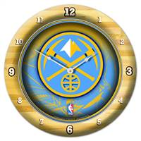 Denver Nuggets Clock Round Wall Style Chrome - Special Order
