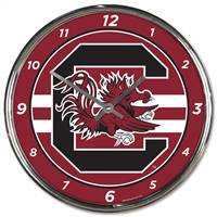 South Carolina Gamecocks Clock Round Wall Style Chrome - Special Order