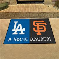 "Los Angeles Dodgers - San Francisco Giants House Divided Rug 34""x45"""