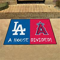 "Los Angeles Dodgers - Anaheim Angels House Divided Rug 34""x45"""
