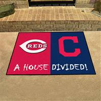 "Cincinnati Reds - Cleveland Indians House Divided Rug 34""x45"""