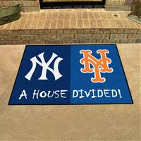 "New York Yankees - New York Mets House Divided Rug 34""x45"""