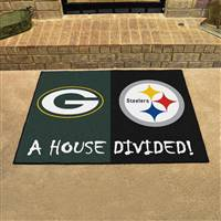 "NFL House Divided - Packers / Steelers House Divided Mat 33.75""x42.5"""