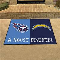 "NFL House Divided - Chargers / Titans House Divided Mat 33.75""x42.5"""