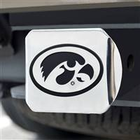 "University of Iowa Hitch Cover - Chrome on Chrome 3.4""x4"""