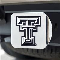 "Texas Tech University Hitch Cover - Chrome on Chrome 3.4""x4"""