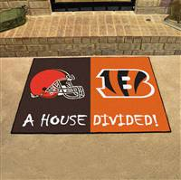 "NFL House Divided - Bengals / Browns House Divided Mat 33.75""x42.5"""
