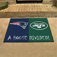"NFL House Divided - Patriots / Jets House Divided Mat 33.75""x42.5"""