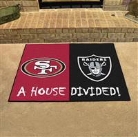 "NFL House Divided - 49ers / Raiders House Divided Mat 33.75""x42.5"""