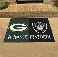 "NFL House Divided - Packers / Raiders House Divided Mat 33.75""x42.5"""