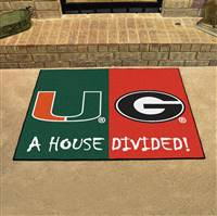 "House Divided - Miami / Georgia House Divided Mat 33.75""x42.5"""