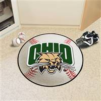 "Ohio Bobcats Baseball Rug 29"" diameter"