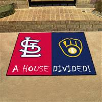 "MLB House Divided - Cardinals / Brewers House Divided Mat 33.75""x42.5"""
