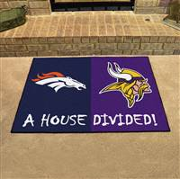 "NFL House Divided - Broncos / Vikings House Divided Mat 33.75""x42.5"""