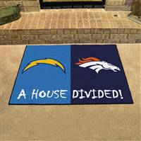 "NFL House Divided - Chargers / Broncos House Divided Mat 33.75""x42.5"""