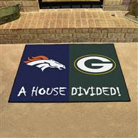 "NFL House Divided - Broncos / Packers House Divided Mat 33.75""x42.5"""