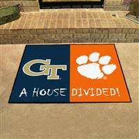 "House Divided - Georgia Tech / Clemson House Divided Mat 33.75""x42.5"""