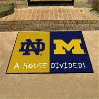 "House Divided - Notre Dame / Michigan House Divided Mat 33.75""x42.5"""