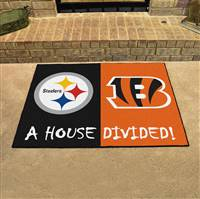 "NFL House Divided - Steelers / Bengals House Divided Mat 33.75""x42.5"""