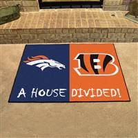 "NFL House Divided - Broncos / Bengals House Divided Mat 33.75""x42.5"""