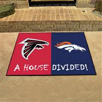 "NFL House Divided - Falcons / Broncos House Divided Mat 33.75""x42.5"""