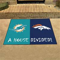 "NFL House Divided - Dolphins / Broncos House Divided Mat 33.75""x42.5"""