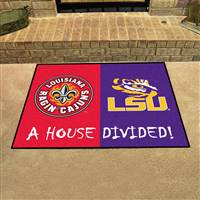 "House Divided - UL-Lafayette / LSU House Divided Mat 33.75""x42.5"""