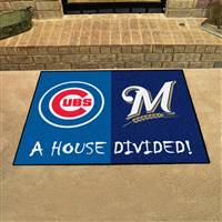 "MLB House Divided - Cubs / Brewers House Divided Mat 33.75""x42.5"""