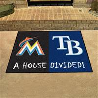 "MLB House Divided - Marlins / Rays House Divided Mat 33.75""x42.5"""
