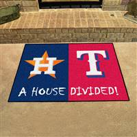 "MLB House Divided - Astros / Rangers House Divided Mat 33.75""x42.5"""