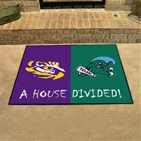 "House Divided - LSU / Tulane House Divided Mat 33.75""x42.5"""