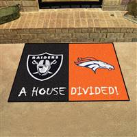 "NFL House Divided - Raiders / Broncos House Divided Mat 33.75""x42.5"""