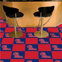 "University of Mississippi (Ole Miss) Team Carpet Tiles 18""x18"" tiles"