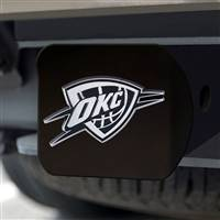 "NBA - Oklahoma City Thunder Hitch Cover - Chrome on Black 3.4""x4"""