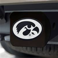 "University of Iowa Hitch Cover - Chrome on Black 3.4""x4"""