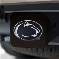 "Penn State Hitch Cover - Chrome on Black 3.4""x4"""