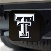 "Texas Tech University Hitch Cover - Chrome on Black 3.4""x4"""