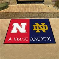 "House Divided - Nebraska / Notre Dame  House Divided Mat 33.75""x42.5"""
