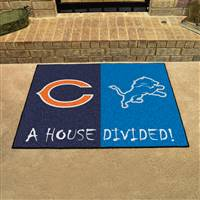 "NFL House Divided - Bears / Lions House Divided Mat 33.75""x42.5"""