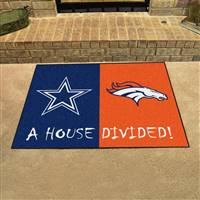 "NFL House Divided - Cowboys / Broncos House Divided Mat 33.75""x42.5"""