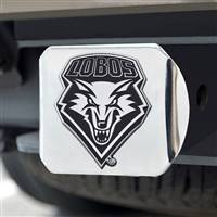 "University of New Mexico Hitch Cover - Chrome on Chrome 3.4""x4"""