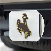 "University of Wyoming Color Hitch Cover - Chrome 3.4""x4"""
