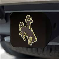 "University of Wyoming Hitch Cover - Color on Black 3.4""x4"""