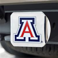 "University of Arizona Color Hitch Cover - Chrome 3.4""x4"""
