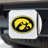 "University of Iowa Color Hitch Cover - Chrome 3.4""x4"""