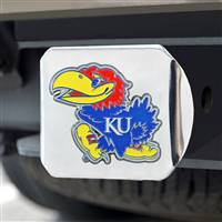 "University of Kansas Color Hitch Cover - Chrome 3.4""x4"""